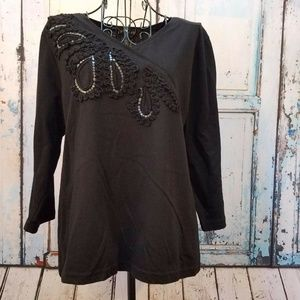 SML Sport Project Top Black Sequin Size Petite PL